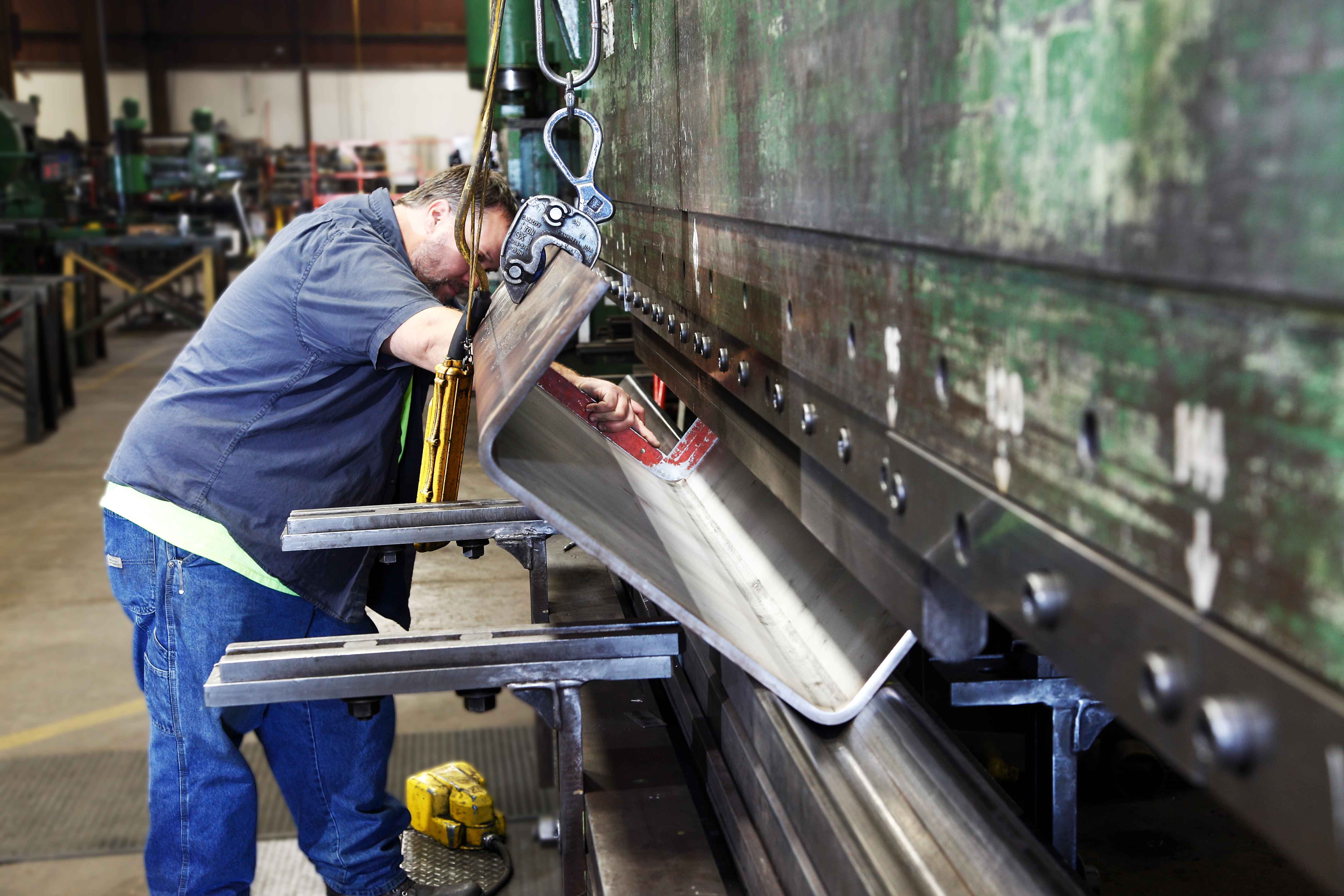 Steel Products Manufacturing : Press brake for custom metal fabrication at heintz steel